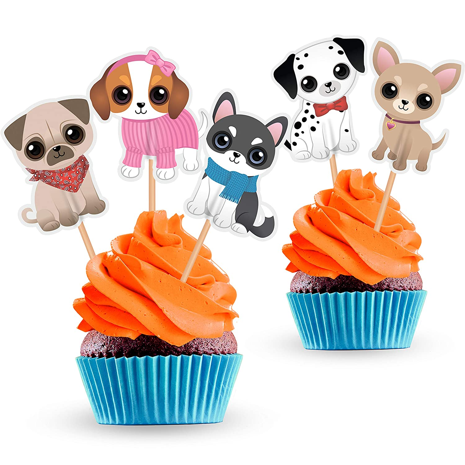 Dog Cupcake Cake Toppers - Puppy Pet Theme Birthday Party Decorations Supplies - 25 PCS