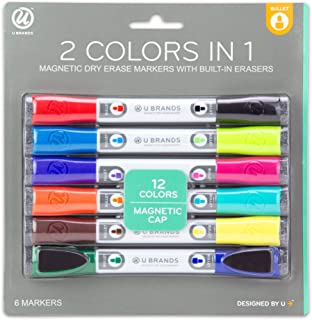 U Brands Low Odor Magnetic Double Ended Dry Erase Markers With Erasers, Bullet Tip,..
