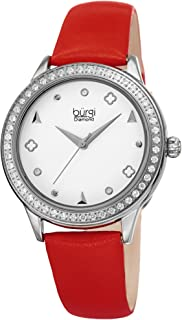 Burgi Leather Women's Watch - Slim Leather Strap - Three Hand Movement with Diamond Markers - Floating Enamel Dial - Round Analog Quartz - BUR221