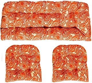 """RSH Décor Indoor/Outdoor Decorative 3 Piece Love Seat/Settee & 2 Chair Wicker Cushion Sets Made with Tommy Bahama Fabric (Standard ~ 2-19""""x19"""" & 41""""x19"""", Spin Orange)"""
