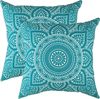 TreeWool Decorative Square Throw Pillowcases Set Mandala Accent 100% Cotton Cushion Cases Pillow Covers (24 x 24 Inches / 60 x 60 cm, Turquoise in Cream Background in Cream Background) - Pack of 2
