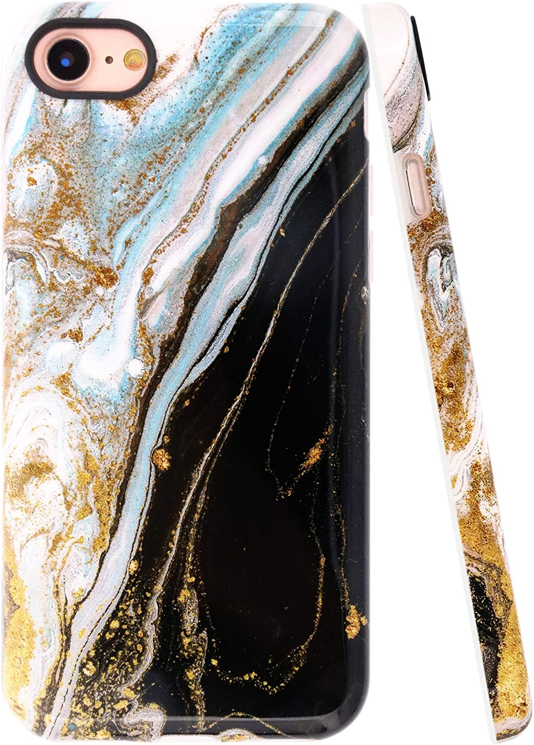 A-Focus Compatible with New iPhone SE Case, iPhone 8 Case Marble, iPhone 7 Case, Smooth Marble Texture Series Rock Stone IMD Shock Proof Slim TPU Case for iPhone 7/8 / SE 4.7 inch Glossy Black Yellow