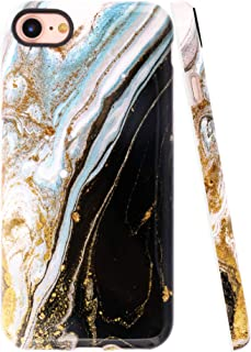 A-Focus Case for iPhone 8 Case Marble, iPhone 7 Case, Smooth Marble Texture Series Rock Stone IMD Design Shock Proof Flexible Slim TPU Case for iPhone 7 iPhone 8 4.7 inch Glossy Black Yellow