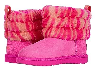 UGG Kids Fluff Mini Quilted Zebra (Toddler/Little Kid) (Rock Rose) Girls Shoes
