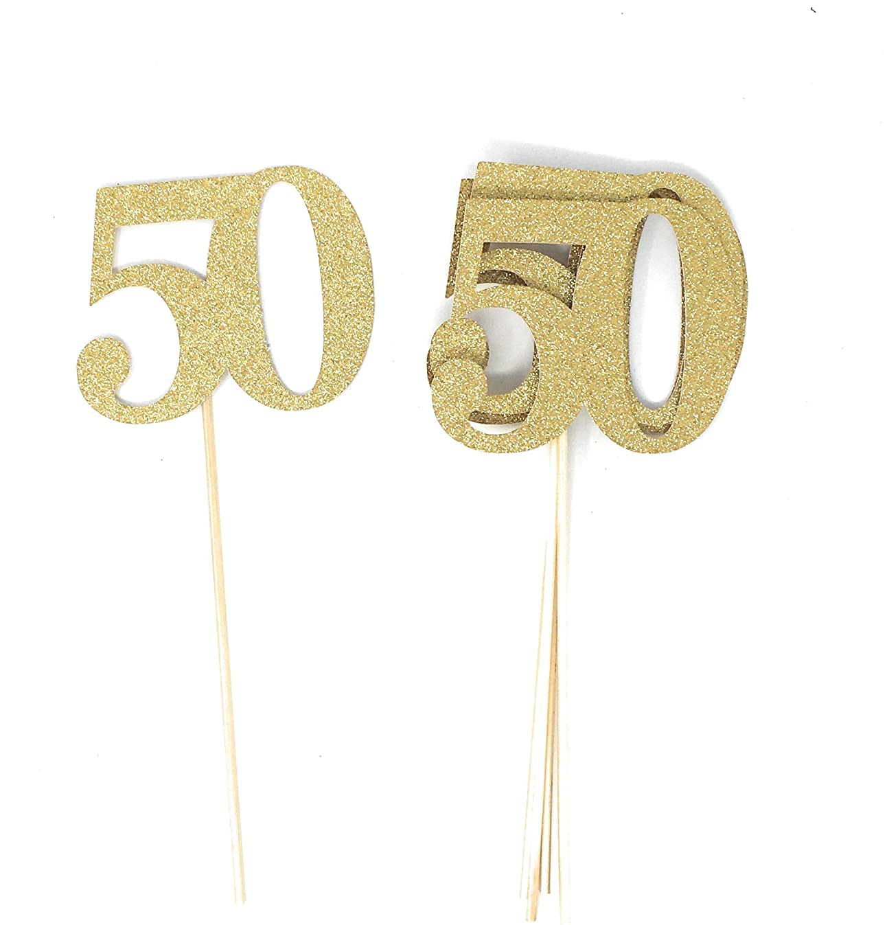 PaperGala Set of 8 Number 50 Centerpiece Sticks for Silver Anniversary Reunion 50th Birthday (Gold)