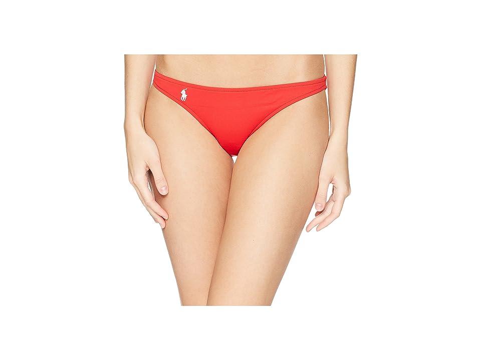 0109b8d3be88a Polo Ralph Lauren Modern Solid Taylor Hipster Bottoms (Red) Women's Swimwear