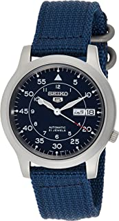 Seiko 5 Military Men's Blue Dial Nylon Band Automatic Watch - SNK807K2