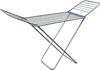 MSV 130087 Etendoir à Ailes 20m de Acier INOX/PP en Argent/Bleu, Polypropylène, 180x108x55 cm