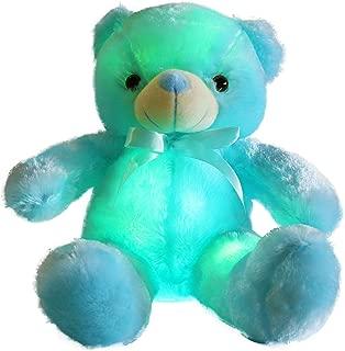 WEWILL Creative Light Up LED Inductive Teddy Bear Stuffed Animals Plush Toy Colorful GlowingTeddy Bear Nice Gift for Birthday Christmas, 20- Inch(Blue)