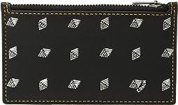 Zip Card Case in Dot Diamond Leather