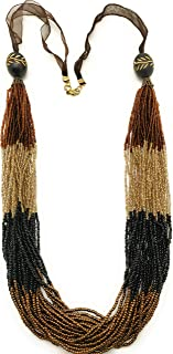 DCA Women's Gold Plated Glass Necklace (Brown Black)