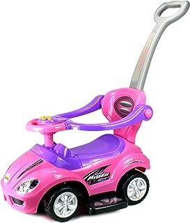 Deluxe Mega 3 in 1 Car Children's Toy Stroller & Walker Combo w/ Working Horn, Underseat Storage (Pink)