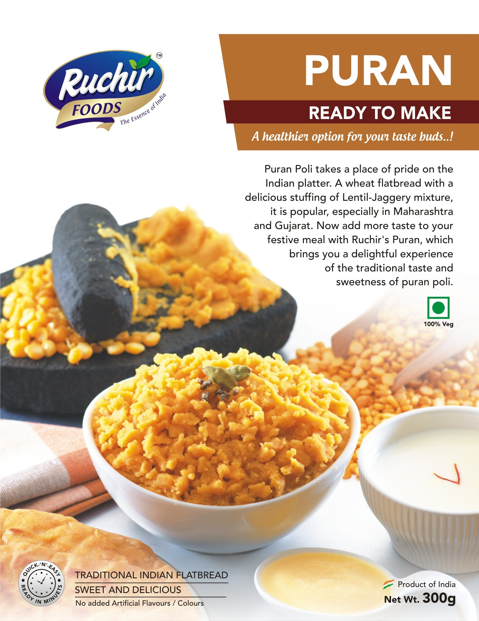 Ruchir Foods Ready to Make Puran - 300gms - Ready to Make, Ready to Cook