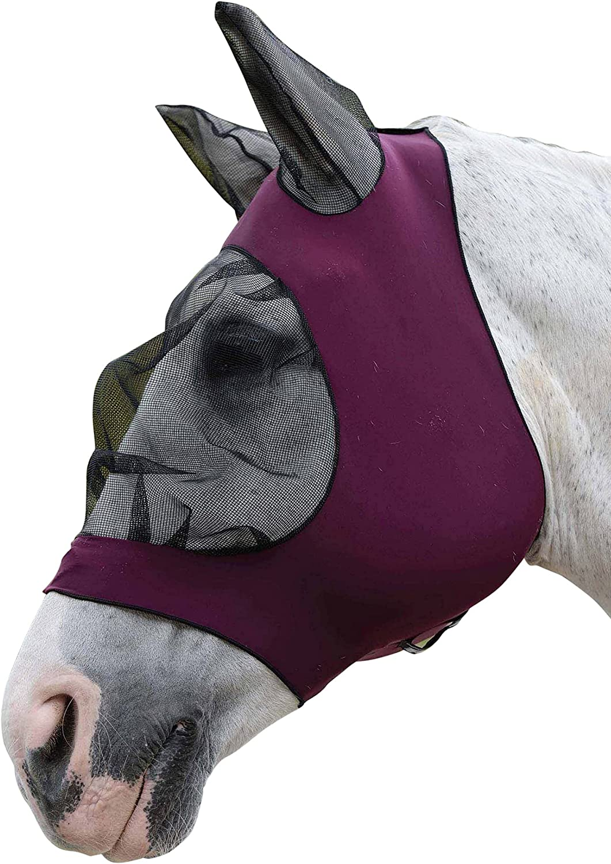 Weatherbeeta - Máscara con redecilla elástica y orejeras para caballos