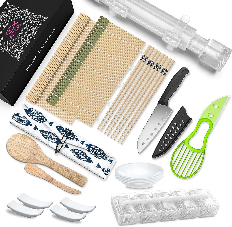 Takedento Sushi Making Kit - 23 in 1 Sushi Kit with Sushi Bazooka Roller Machine, Bamboo Mat Roll Maker, Chef Knife, Chopsticks, Nigiri Mold, Rice Paddle - Easy DIY Sushi Making Kit for Beginners