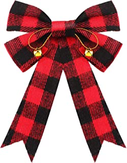 12 Pieces Christmas Plaid Bows with Xmas Bells Red and Black Buffalo Check Bows Holiday Decorative Bows for Xmas Tree Home...