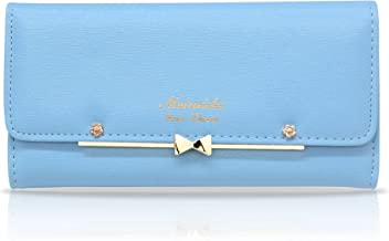 Woolala Women Cute Bowknot Wallet Trifold Large Capacity Long Purse
