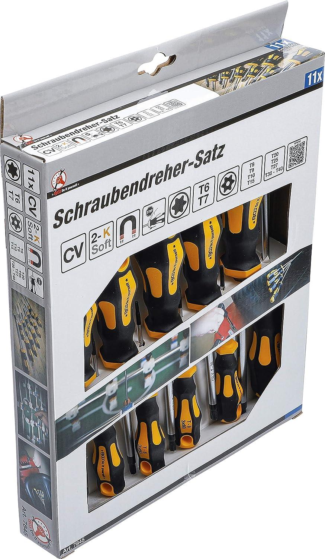 Kraftmann 7845   Juego de destornilladores   perfil en T (para Torx) con perforación T6 - T40   11 piezas