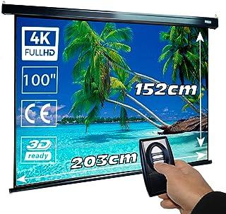 Elektrisch projectiescherm 100 inch Luxscreen, afmetingen van de stof 203 x 152 cm en zwarte opbergdoos 234 cm, stof mat w...