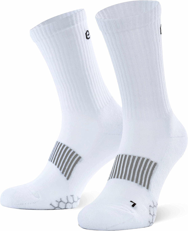 Amazon Marka: Eono Essentials - Calcetines deportivos (pack de 3), unisex, color: Blanco, tallas: Reino Unido 9-12, EU 43-46