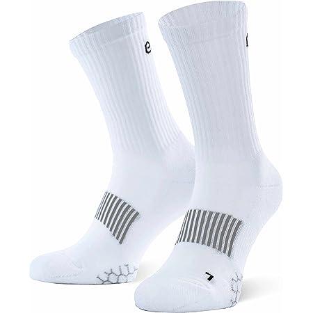 Eono Essentials Calzini Sportivi, Performance Sport Socks da Uomo e da Donna (da 3 Pezzi), Tennis, Basket, Fitness, Uso Tutto L'Anno, White, 43-46