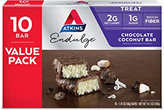 Atkins Endulge Treat Chocolate Coconut Bar. Rich Coconut & Decadent Chocolate. Keto-Friendly. Value Pack (10 Bars)
