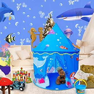 ALPIKA Castle Play Tent Mermaid Indoor and Outdoor Kids Playhouse with Carrying Bag for Children (Ocean-Blue)