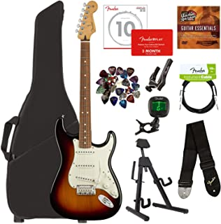 Fender Player Stratocaster, Pau Ferro - 3-Color Sunburst Bundle with Gig Bag, Stand, Cable, Tuner, Strap, Strings, Picks, Capo, Fender Play Online Lessons, and Austin Bazaar Instructional DVD