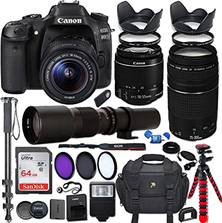 $1249 Get Canon EOS Rebel 80D DSLR Camera with 18-55mm is STM Lens Bundle + Canon EF 75-300mm f/4-5.6 III Lens and 500mm Preset Lens + 64GB Memory + Filters + Monopod + Spider Tripod + Professional Bundle