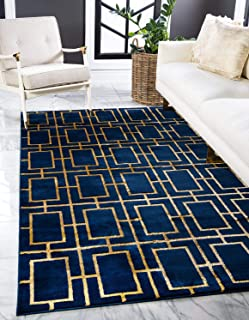 Unique Loom Marilyn Monroe Glam Collection Textured Geometric Trellis Navy Blue Gold Area Rug (2' 0 x 3' 0)