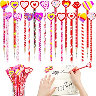 72 Piece Valentine's Day Pencils Assortment and Heart Eraser Topper kit, 36 Kids Wood Pencil Valentines Assorted Patterns ...