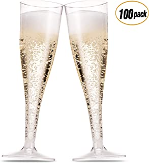 100 Pack Plastic Champagne Flutes 5 Oz Clear Plastic Toasting Glasses Disposable Wedding Thanksgiving Party Cocktail Cups