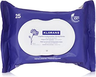 Klorane Make-up Remover Biodegradable Wipes with Soothing Cornflower for Sensitive Skin, Fragrance, Sulfate, and Alcohol Free