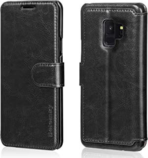 Belemay Samsung Galaxy S9 Case, Genuine Cowhide Leather Wallet Case, Premium Folio Flip Book Cover with Magnetic Closure, Kickstand, Card Holder Slots, Cash Pockets Compatible Samsung Galaxy S9, Black