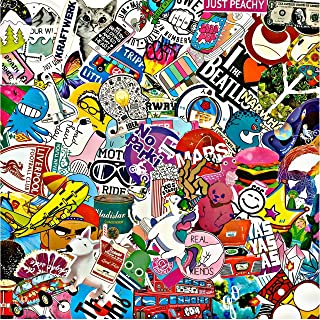 DGO Waterproof Vinyl Stickers for Laptop Tablet Scrapbook (100 Pcs Mix Funky Party Style)