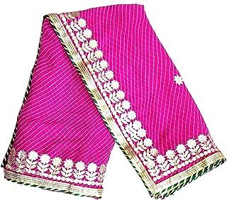 Lakshya Fabrics Women's Georgette Motthda Leheriya Gota Patti Saree with Blouse (Size : 6.3MTR) Pink