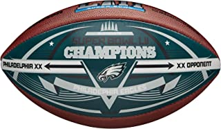 Eagles Super Bowl 52 Champions Commemorative Leather Football with Color Panel and Score