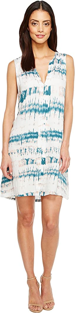 Shibori Print Pleat Front Dress