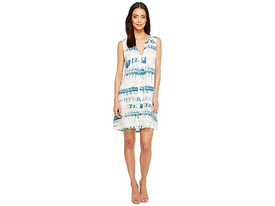 Michael Stars Shibori Print Pleat Front Dress (Mediterranean) Women