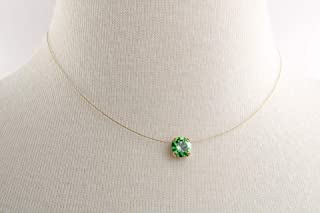 Solitaire Floating Peridot Illusion Necklace, Genuine 8mm Diamond Cut Swarovski or Preciosa Crystal, Durable Illusion Wire Cord, Nickel Free Gold Plated Setting, Three Sizes to Choose!