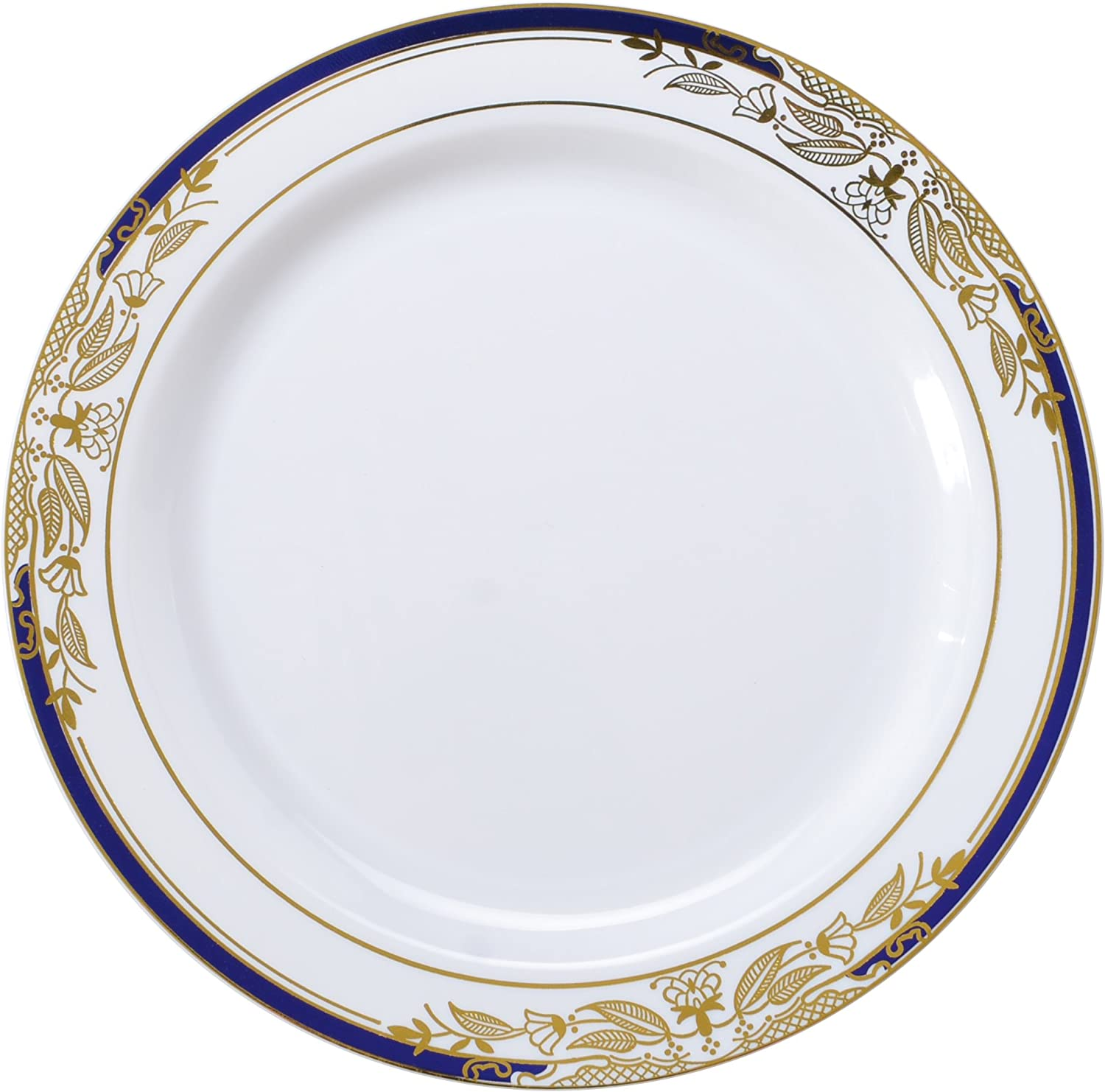 Signature blue 120 Piece Salad Plate with Cobalt Trim & gold Stamping, 7.5 , White
