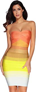 Women's Bandage Straless Dress Bodycon Rainbow Party Dress