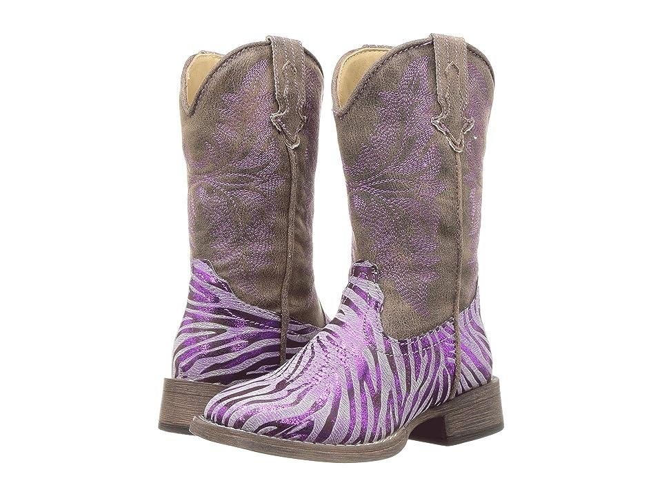 Roper Kids Metallic Zebra (Toddler/Little Kid) (Purple Metallic Zebra Vamp) Cowboy Boots