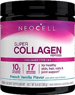 NeoCell Super Collagen Powder, French Vanilla 7oz, Non-GMO, Grass Fed, Paleo Friendly, Collagen Peptides Types 1 & 3 for H...