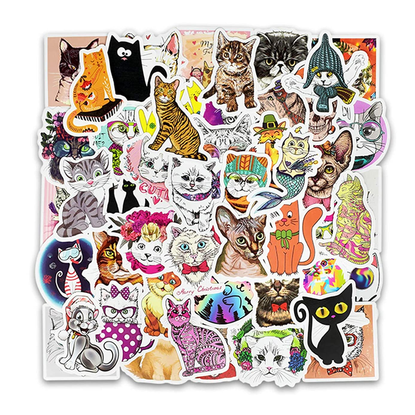 50pcs Cool Animals Cute Funny Cat Emoji Sticker for Laptop Phone Computer PC Water Bottle Bike Helmet Car Motorcycle Bumper Luggage Helmet Skateboard Snowboard Waterproof Graffiti Hippie Decals (Cat)