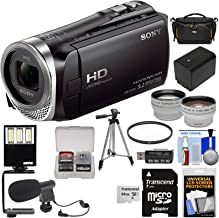 Sony Handycam HDR-CX455 8GB Wi-Fi HD Video Camera Camcorder with 64GB Card + Battery + Case + Tripod + LED Light + Microphone + Tele/Wide Lens Kit