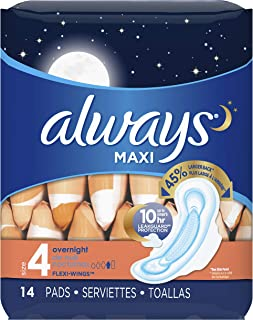 Always Maxi Feminine Pads for Women, Size 4, Overnight, with Wings, Unscented