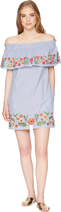 Off the Shoulder Flower Embroidery Dress