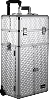 SUNRISE Makeup Case on Wheels 2 in 1 Professional Artist I3165, French Doors, 4 Slide Trays and Drawers, Adjustable Dividers, Mirror with Shoulder Strap, Silver Diamond