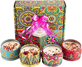 Scented Candles with Dried Flowers Candle Gifts Set, 4.4 Oz Soy Wax Burn Time 120 Hours Aromatherapy Holiday Gift with Pul...